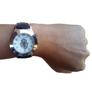 Relógio Hamsa prata e pulseira preta + chaveiro de brinde