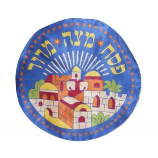 Cobertura para Matzá em seda azul - motivo Jerusalém