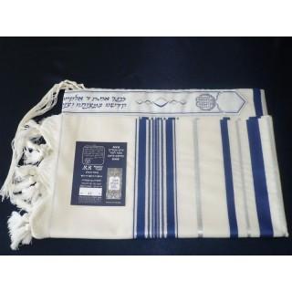 Talit de lã com listras azuis e prata